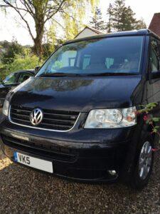 Black shiney T5 VW campervan