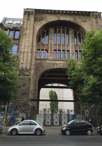 High arched building with graffiti in Berlin