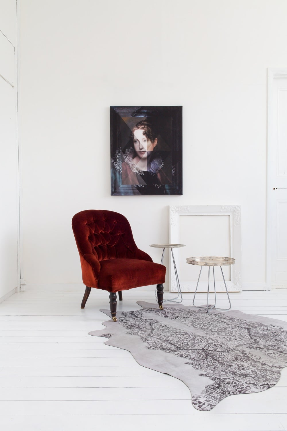 This beautiful print by designers Young & Battaglia playfully blurs the boundaries between the frame and the artwork by superimposing fragments of colour over a traditional neoclassical portrait and frame, both of which are digitally printed on to the canvas itself.