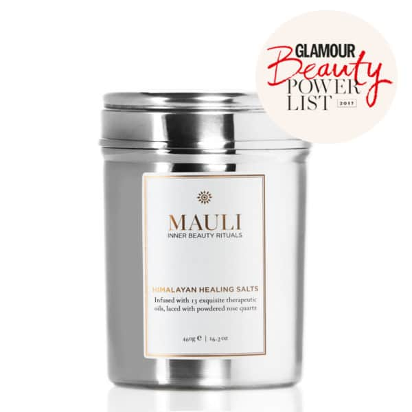 Mauli Himalayan Healing Salts 460g size cut out image on white background with with Glamour magazine Beauty Power List logo