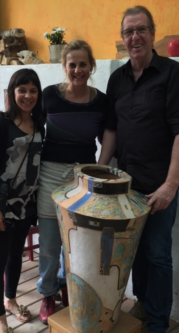 Artists with their large scale colourful ceramics in openplay studio