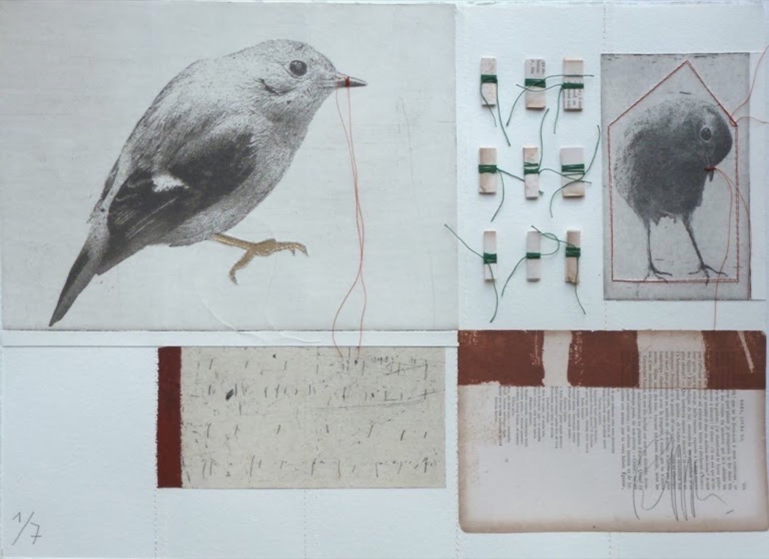 Mixed Media artwork by Ronald ceuppens with bird etching