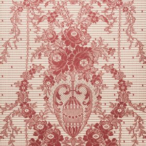 Rose Damask Paper Lace Wallpaper in Red Gold colour
