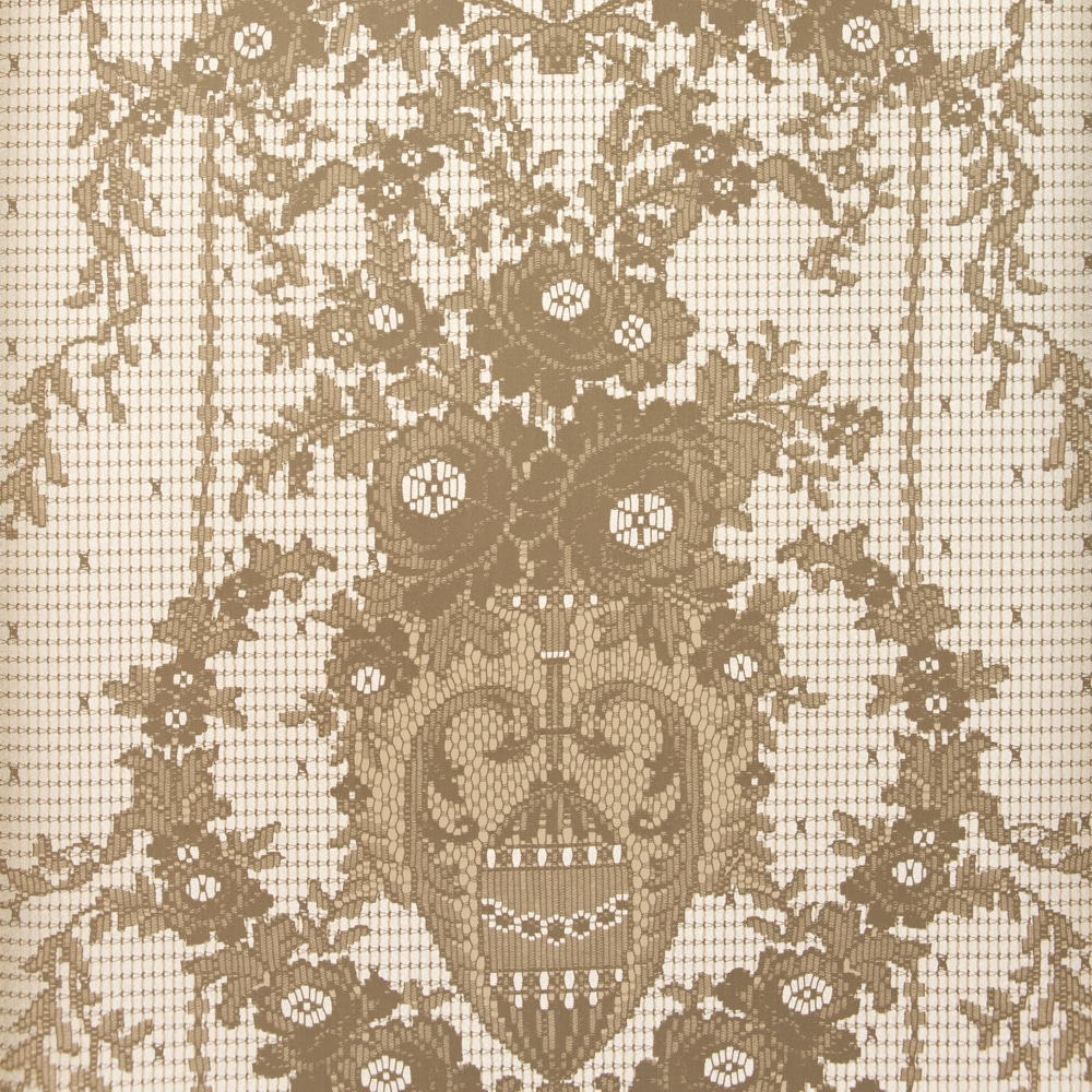 Rose Damask Paper Lace Wallpaper – Taupe Silver close