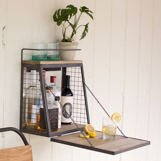 wire framed wall mounted box with mini bar inside