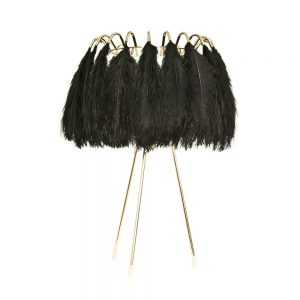 Table Lamp with black feathers by Mineheart