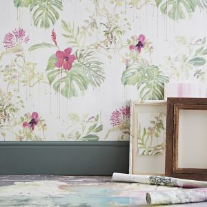 Wallpaper with botanical design in watercolours by designer Sian Zeng