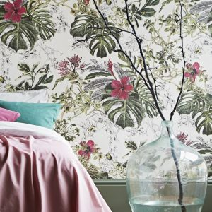 Wall paper design with tropical plants and flowers by designer Sian Zeng