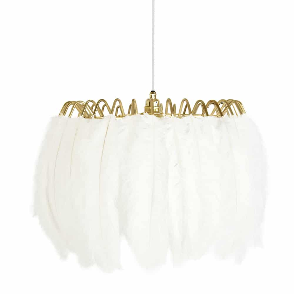 White Feather Pendant Light Curiousegg