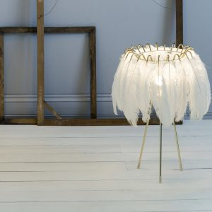 White Feather table Lamp by Mineheart sold by Curious Egg