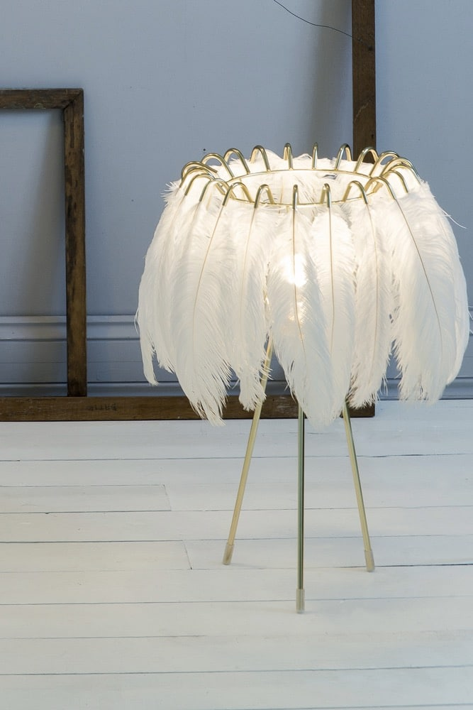 These glamourous feather lamps feature luxurious black or white feathers held in place by a gold metal wire frame. Soft and delicate, the lights are reminiscent of the elegant feather boas and decadent hats of days gone by but the design is totally contemporary. The maps feature a ring of authentic feathers secured by a series of metal gold arms which glow and glint seductively when alight. Available in jet black or pristine white, they come as a pendant or table lamp.