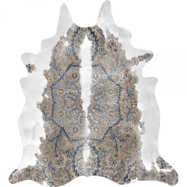 Persian Cowhide Rug in blue and brown colour