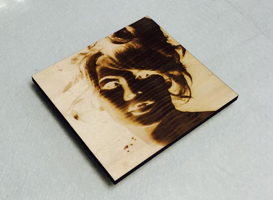 laser etched wooden tile with image of Brigitte Bardot