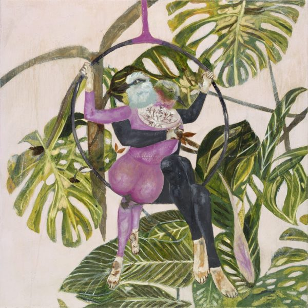 Mixed media painting with pink background large leafs and bird headed acrobats by Karenina Fabrizzi for Curious Egg