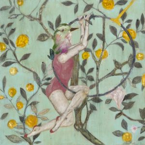 350 x350mm Giclee print with a turquoise background and yellow flowers with a birdheaded acrobat on a hoop trapeze by Karenina Fabrizzi for Curious Egg