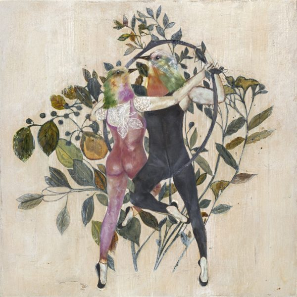 Mixed Media painting with a neutral background and flora in muted blues and greys with two bird headed acrobats dancing around a hoop trapeze by Karenina Fabrizzi for Curious Egg