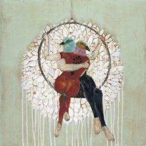 Mixed Media Painting with two birdheaded acrobats embracing on a hoop trapeze in front of a large white flower by Karenina Fabrizzi for Curious Egg