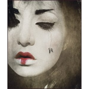 Rug with monochrome image of contemporary Geisha with red lipstick sold by Curious Egg