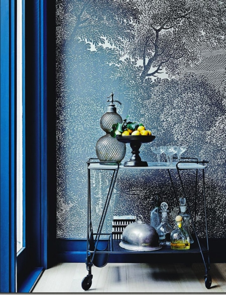 tree monochrome wall mural used as an accent wall for home decor