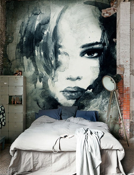 large scale accent wall with watercolour artwork mural
