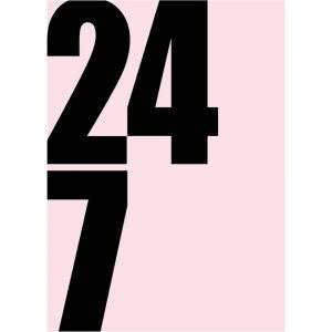 24 7 art print by we are amused with numbers on a pink background for home office or kitchen décor 30 x 40