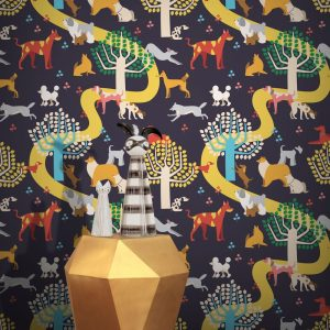 Dog Park Wallpaper by Feathr in Blue colour