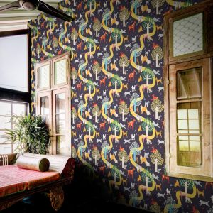 Dog Park Wallpaper by Feathr in Blue colour with window