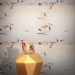 Portugese Seagulls Wallpaper by Feathr in Dusty Pink colour