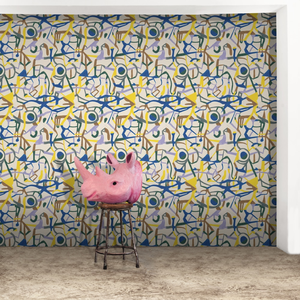Psychedelic Pathways Wallpaper by Feathr (colour: Blue & Yellow)
