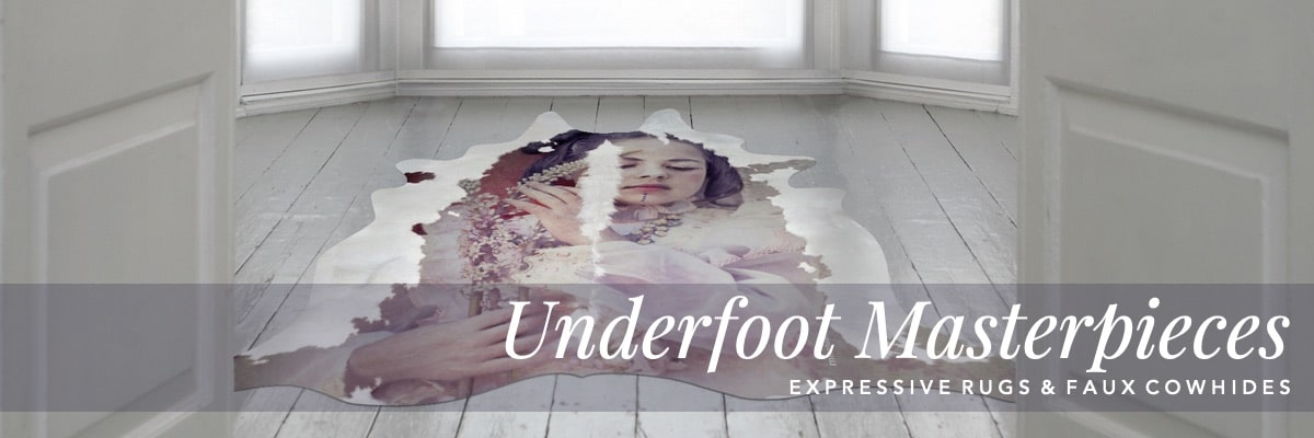 Curious Egg.  Artist Curated Interiors. Underfoot Masterpieces. Expressive Rugs and Faux Cowhides.