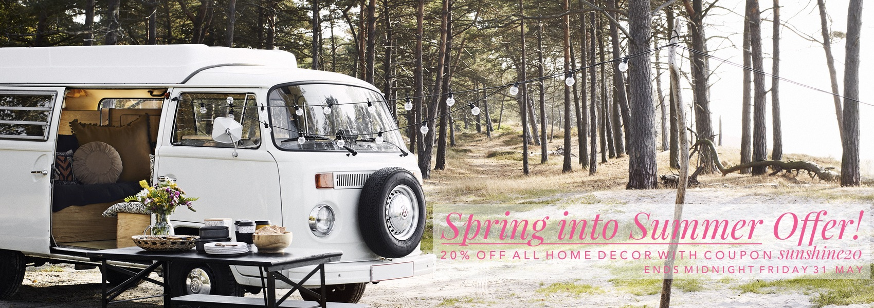 Spring Into Summer Offer - Save 20% off Home Decor Until 31 May with coupon sunshine20