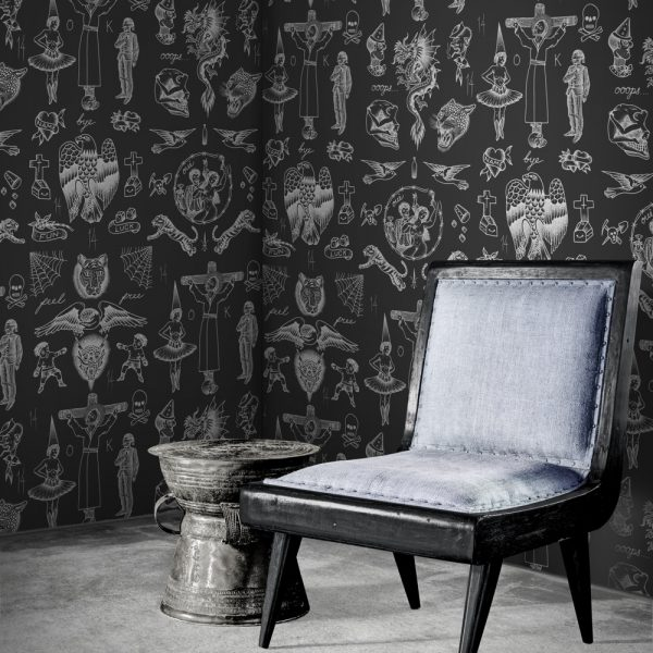 Tattoo Flash Wallpaper by Feathr in Negative colour with chair