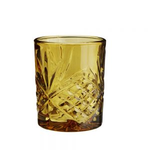 Amber clooured whisky glass barware