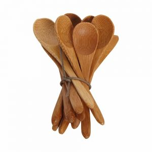 bunch of handcarved bamboo teaspoons tied with a leather thong