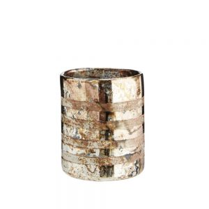 oxidised votive with burnished copper bands for home decor