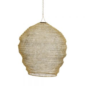 Cocoon Lampshade in gold knitted wire