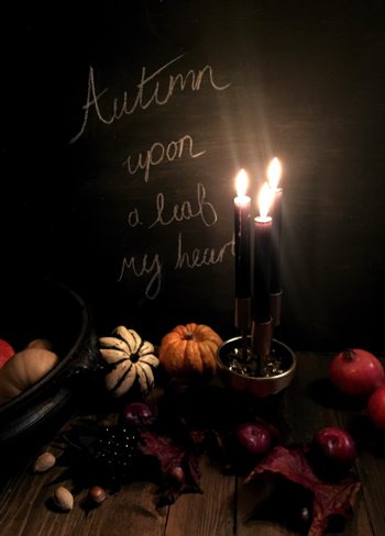 Autumn display with chalkboard