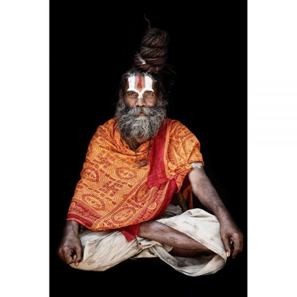 Sitting Baba Indian Holy Man.  Photo by Mario Gerth for sale at curiousegg.com