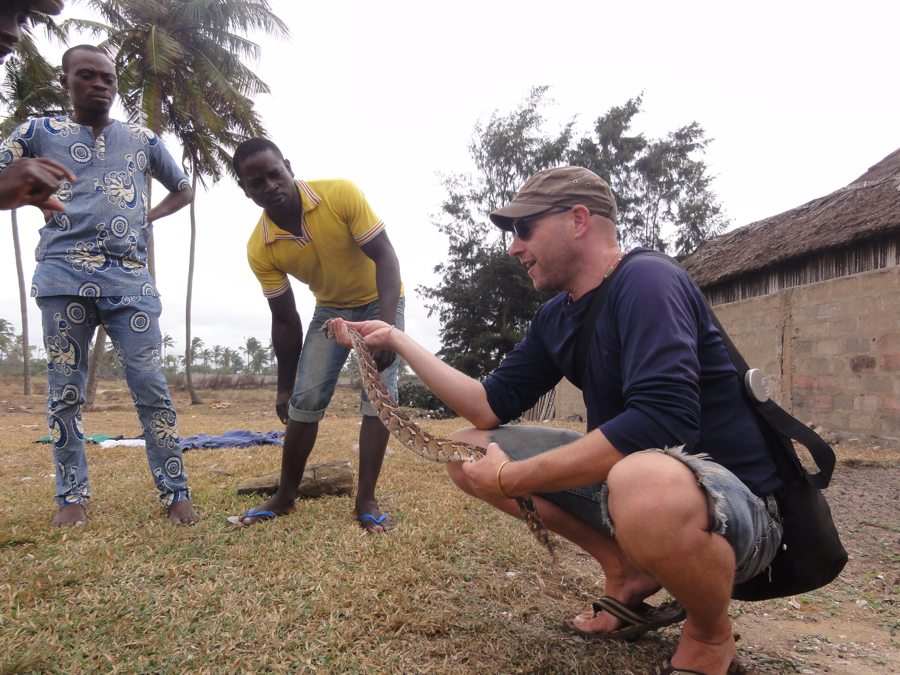 Mario Gerth and snake in Africa