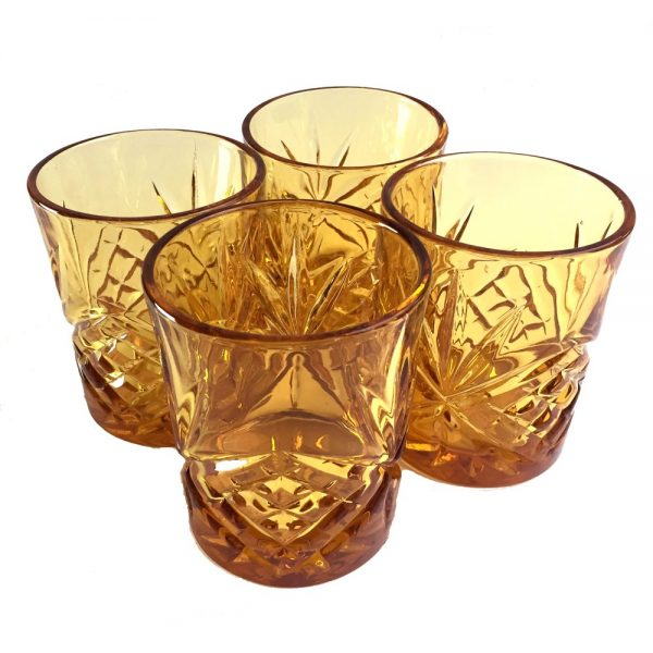 set of 4 whisky glasses amber colour for bar accessories