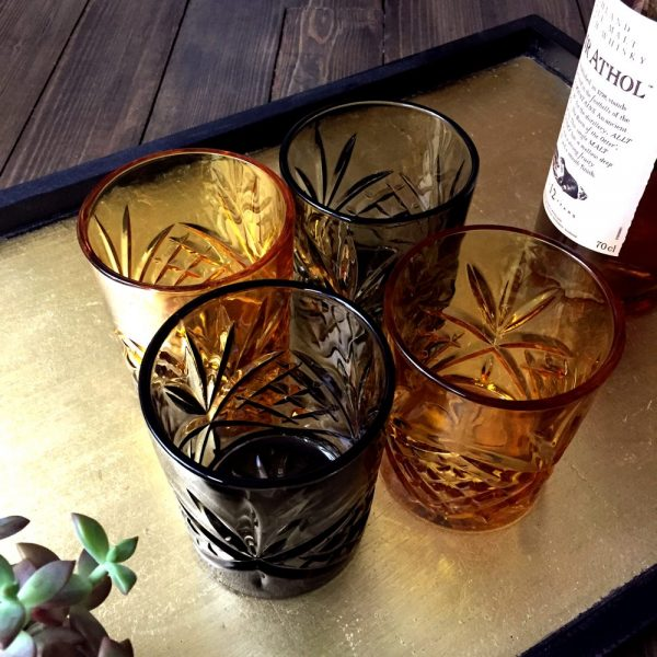 Whisky Glasses set of 4 mixed colour amber and smoke grey glass bar accessories