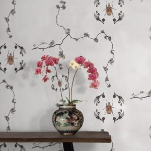 Jewel Scarab Wallpaper in Classic Colour by Feathr at Curious Egg