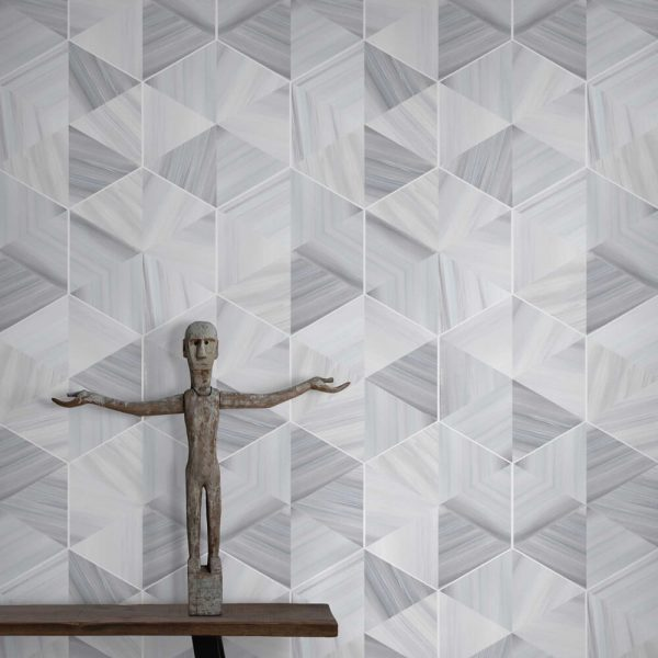 Marble Hexagon Wallpaper in Silver Grey Colour by Feathr at Curious Egg