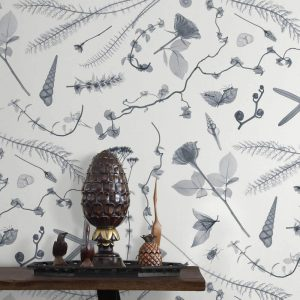 X-Ray Botanics 02 Wallpaper in Grey Colour by Feathr at Curious Egg