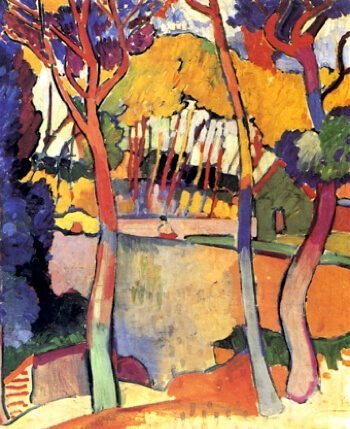 Fauvist expressionist painting by Andre Derain with trees in yellows and blues
