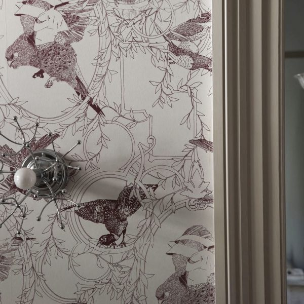Taxidermy birds wallpaper by Daniel Heath in Grape Colour by Daniel Heath