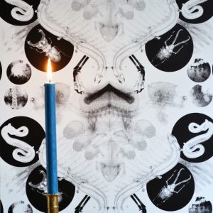 X-Ray Damask wallpaper by Daniel Heath in black colour on wall with candle