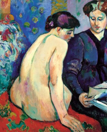 Fauvist painting with blues and reds of a seated nude being read a book by a clothed lady