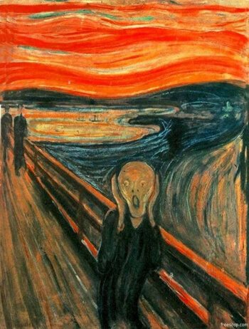 The scream oil painting by Edvard Munch with oranges and blues