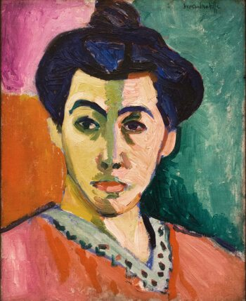 Fauvist expressionist portrait of a lady painting by Henri Matisse with bright colours pink and green